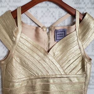 Herve Leger Dresses - Herve Leger Gold Bandage Dress